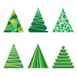 Christmas trees of geometric shapes. Six trees consisting of geometric shapes Stock Images