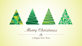 Christmas trees of geometric shapes. Vector new year card Stock Photography