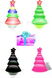 Christmas trees and gift Royalty Free Stock Image