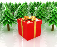 Christmas trees and gift Stock Images