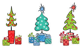 Christmas trees with gifts Royalty Free Stock Image