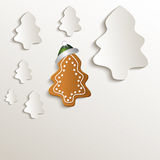 Christmas trees gingerbread cap green natural paper 3D. Template blank Royalty Free Stock Photo