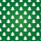 Christmas trees on green background. New year seamless texture Vector Illustration
