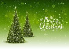 Christmas trees on green background. Christmas trees on shiny green background Royalty Free Stock Photography