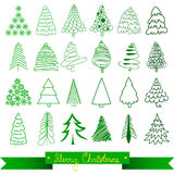 Christmas trees greeting card. Vector Stock Photo