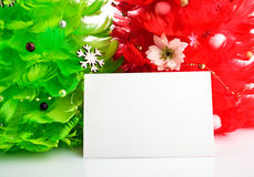 Christmas trees with greeting cards Royalty Free Stock Photography
