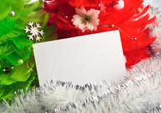 Christmas trees with greeting cards Stock Images