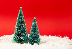 CHRISTMAS TREES GREETINGS CARD FAKE LANDSCAPE stock photo