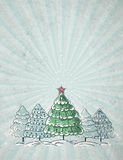 Christmas trees  on grey background, vector Royalty Free Stock Images
