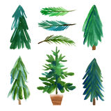 Christmas trees. Hand drawn lettering Stock Photo
