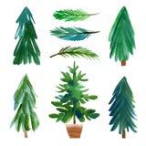 Christmas trees. Hand drawn lettering Stock Illustration