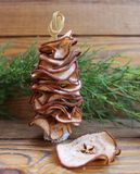 Christmas trees are handmade from dried fruits pear Royalty Free Stock Photos