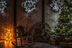 Christmas trees in home stock images
