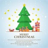 Christmas trees  icon set for greeting Stock Photos