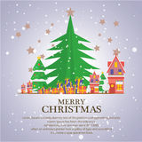 Christmas trees  icon set for greeting. Story of christmas Stock Photography