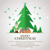 Christmas trees  icon set for greeting. Story of christmas Stock Photo