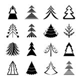 Christmas trees icons. Set of graphical Christmas trees icons Stock Images