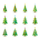 Christmas trees icons collection Stock Image