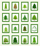 Christmas trees icons Royalty Free Stock Image