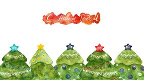 Christmas trees with the inscription. Postcard. stock photography
