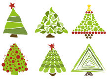 Christmas trees isolated. Set of different christmas trees isolated. Coloured illustration. Eps available Stock Image
