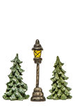 Christmas trees with lantern isolated Royalty Free Stock Image