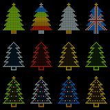 12 Christmas Trees in LED Dots Royalty Free Stock Image