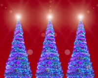 Christmas trees led lights, red background Stock Image