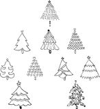 10 Christmas Trees Line art Drawing Royalty Free Stock Images