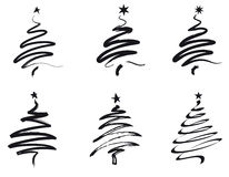 Christmas trees, line illustration Royalty Free Stock Photos