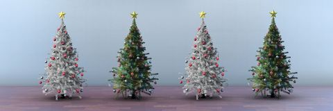 Christmas trees in long room. Digital composite of Christmas trees in long room Royalty Free Stock Photography