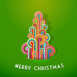 Christmas trees made from curled colorful lines. Vector art Stock Photography