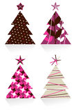 Christmas trees made with different textures Stock Image