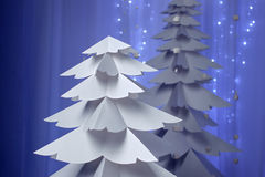 Christmas trees made of paper Stock Photography