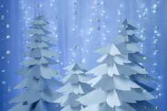 Christmas trees made of paper Stock Images