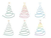 Christmas trees made of ribbon Stock Photos