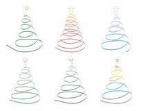 Christmas trees made of ribbon. Set of Christmas trees made of ribbon vector illustration Stock Photos