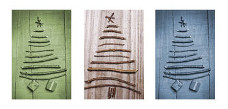 Christmas trees made of wooden branches with gifts. Triptych in brown, green and blue. Stock Images