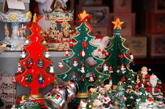 Christmas trees at the market royalty free stock photo
