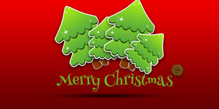 Christmas trees. Marry christmas on a red background it is very simple and beautiful Stock Photos