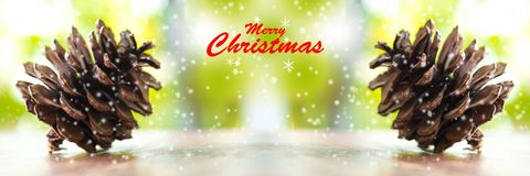 Christmas trees and merry christmas word. Close up Pine cones an royalty free stock photo
