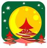Christmas trees and moon Stock Images