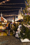 Christmas trees at New Year Fair in Moscow Stock Photos