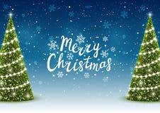 Christmas trees on night background. Christmas trees on shiny night background Stock Image