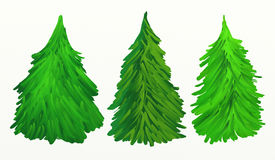 Christmas trees oil painting Royalty Free Stock Photos