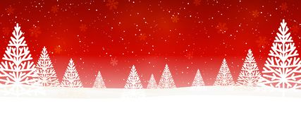 Free Christmas Trees On Red Starry Background - Horizontal Panoramic Banner For Your Design Stock Photos - 163858463