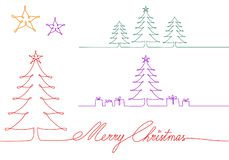 Christmas trees one single line drawing, vector illustration vector illustration