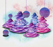 Christmas trees and ornaments Stock Photo