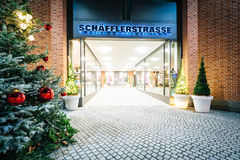 Christmas trees and passages at night, in Munich, Germany. Stock Images