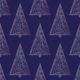 Christmas trees pattern. Abstract Xmas tree seamless background. Winter holidays  texture for wallpaper, wrapping paper, tex. Christmas trees pattern. Xmas tree Stock Photo